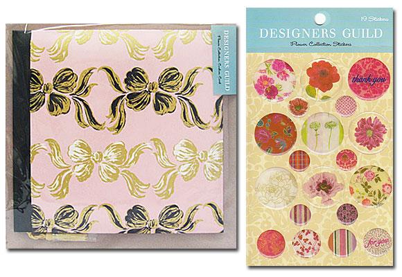お花のカードとステッカーのセット(ピンク系) ~ デザイナーズギルド
