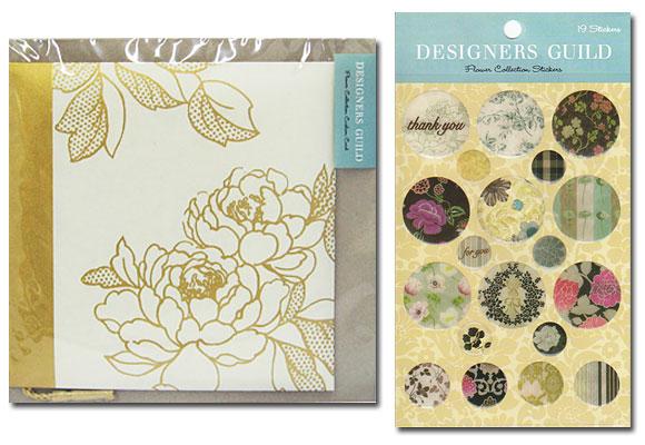 お花のカードとステッカーのセット(イエロー系) ~ デザイナーズギルド