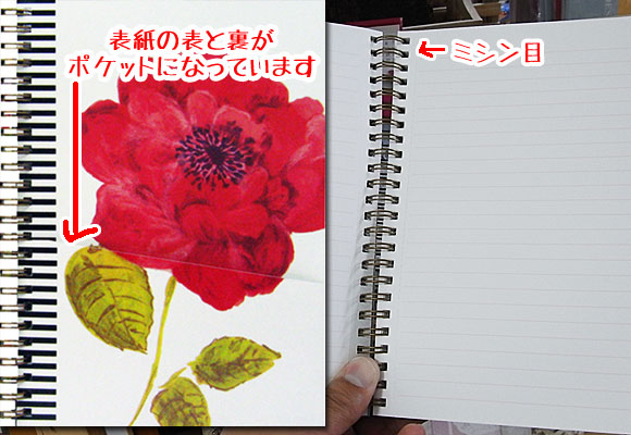赤いお花のA5サイズ リングノート ~ デザイナーズギルド