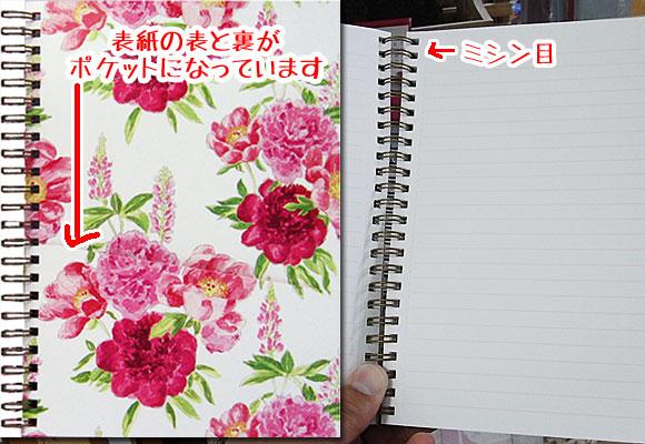 赤とピンクのバラのA5サイズ リングノート ~ デザイナーズギルド
