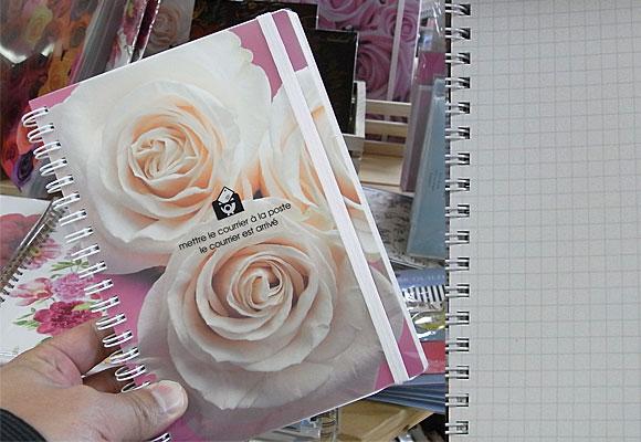 淡いピンクのバラのB6サイズダブルリングノート ~ エトランジェ・ディ・コスタリカ